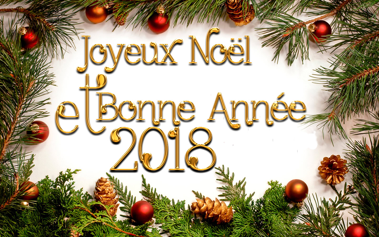 joyeux noel et bonne annee 2018 avec decorations